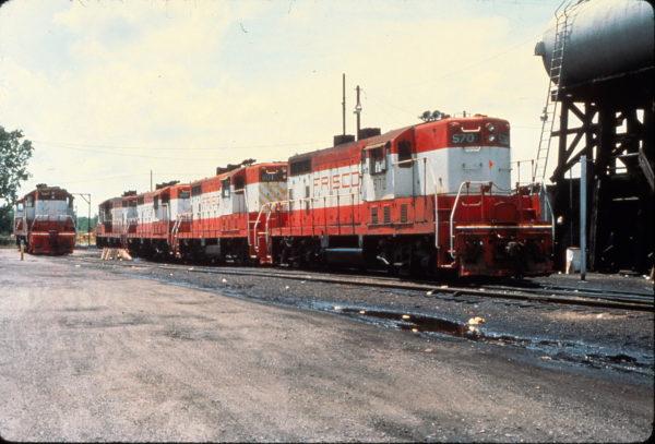 GP7s 570, 601, and 589 at Hugo, Oklahoma on June 12, 1976