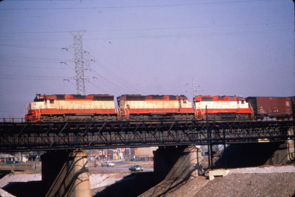 SD45s 905 and 900, and GP35 721 at St. Louis, Missouri (date unknown) (Al Chione)