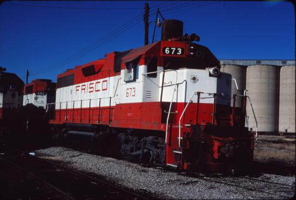 GP38-2 673 at Enid, Oklahoma on December 17, 1980 (Gene Gant)