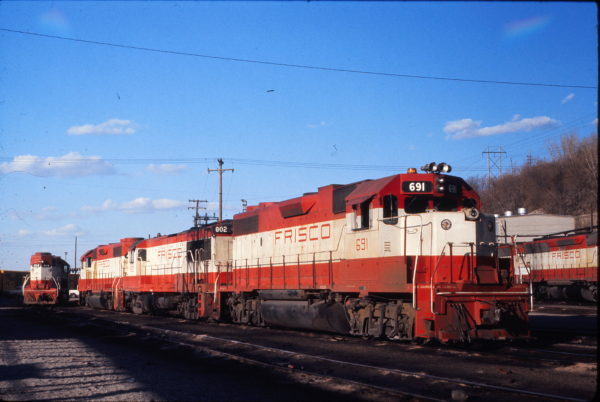 GP38-2 691, U25B 802 and GP38-2 414 at Kansas City, Missouri on March 20, 1976