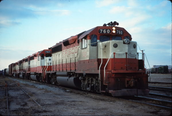 GP40-2s 760 and 767 at Fort Worth, Texas on February 24, 1980 (Bill Phillips)