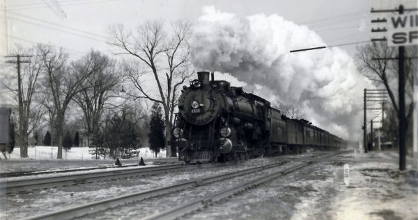 4-8-2 1510 on the Blue Bonnet at Windsor Springs, Missouri in January 1936 (W.F. Schaffner)