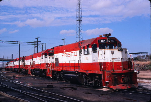 GP15-1s 102 and 120 at Springfield, Missouri on October 17, 1980