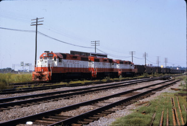 GP38AC 658 and GP38-2s 406 and 675 (location unknown) in September 1973