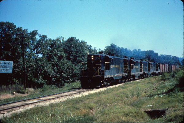 GP7 536 leads an extra at Fort Smith, Arkansas on July 11, 1962
