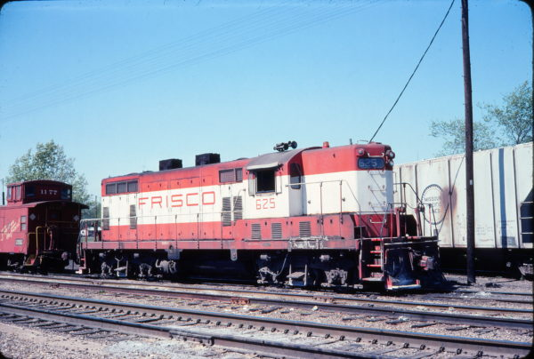 GP7 625 and Caboose 1177 (location unknown) in April 1976