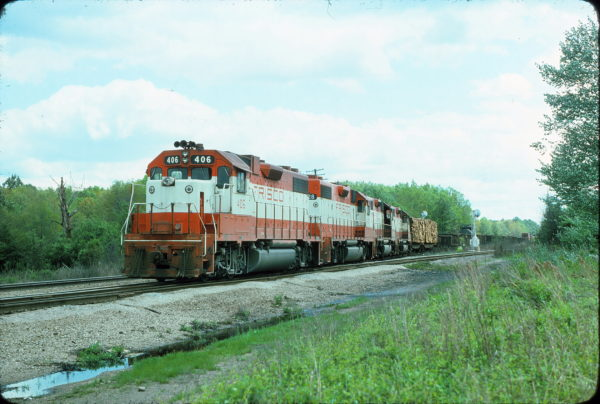 GP38-2 406 in April 1977 near Amory, Mississippi