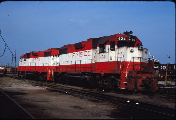 GP38-2s 424 and 444 at St. Louis, Missouri on August 29, 1980 (Lee Gregory)