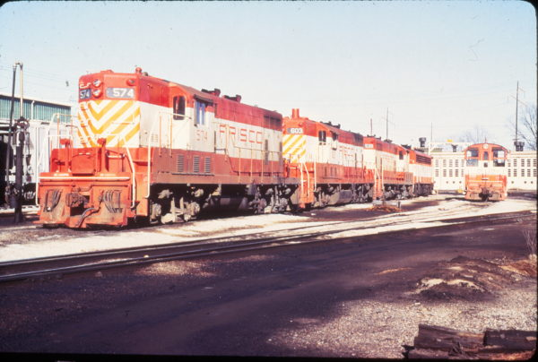 GP7s 574, 603, 539 and VO-1000 232 at Fort Smith, Arkansas on February 13, 1972