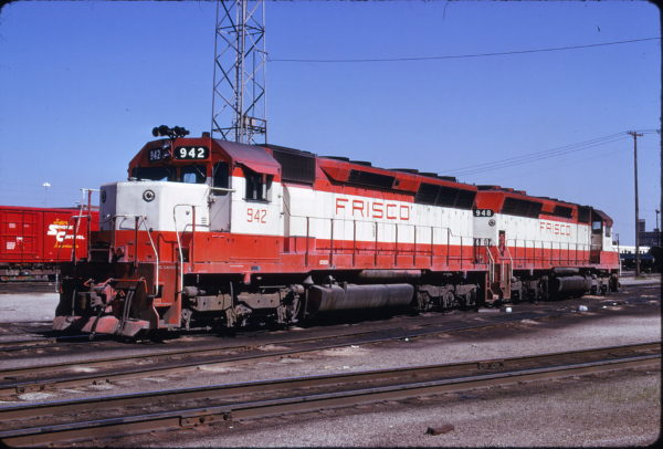 SD45s 942 and 948 at Kansas City, Missouri on May 4, 1975 (James Primm)