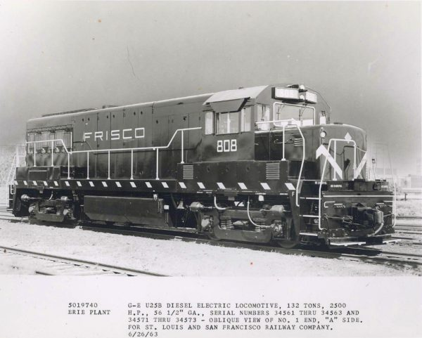 U25B 808 at Erie, Pennsylvania on June 26, 1963 (Builder's Photograph)
