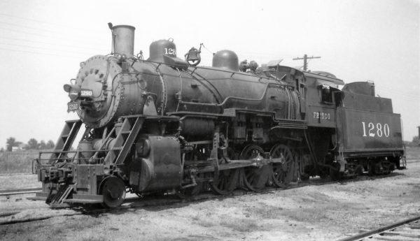 2-8-0 1280 at Afton, Oklahoma on August 22, 1948 (Arthur B. Johnson)