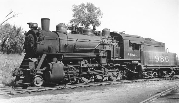 2-8-0 986 at Springfield, Missouri on October 15, 1949 (Arthur B. Johnson)