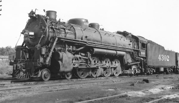 4-8-2 4302 at Fort Scott, Kansas on July 11, 1947 (Arthur B. Johnson)
