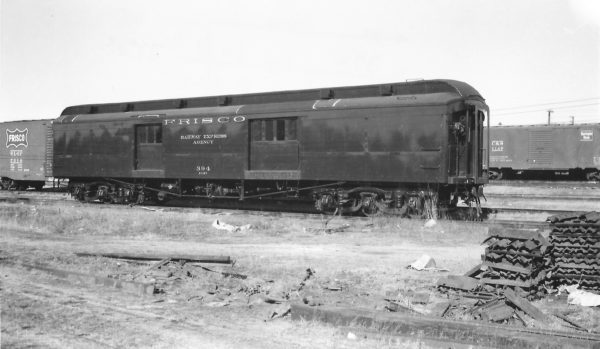 60 Foot Baggage Car 394 at Springfield, Missouri on January 1, 1961 (Arthur B. Johnson)