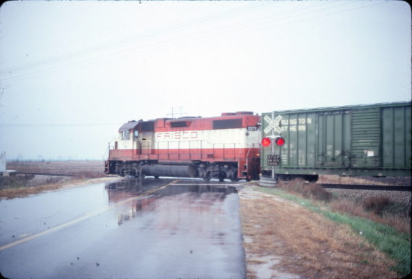 GP38-2 2273 (Frisco 418) at Chaffee, Missouri in November 1981 (Ken McElreath)