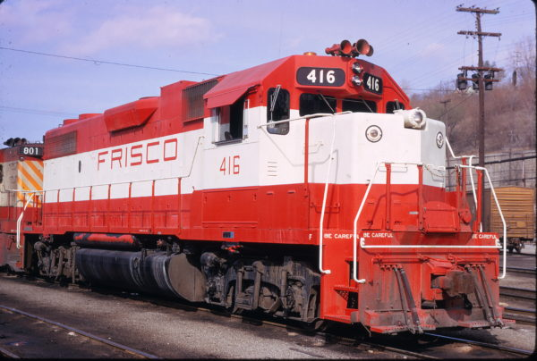 GP38-2 416 at Kansas City, Missouri in May 1974