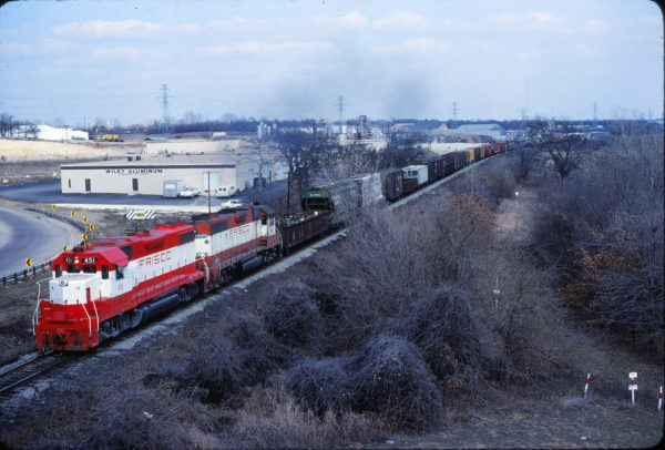 GP38-2s 451 and 663 at Hurst, Texas on February 8, 1981 (Bill Phillips)