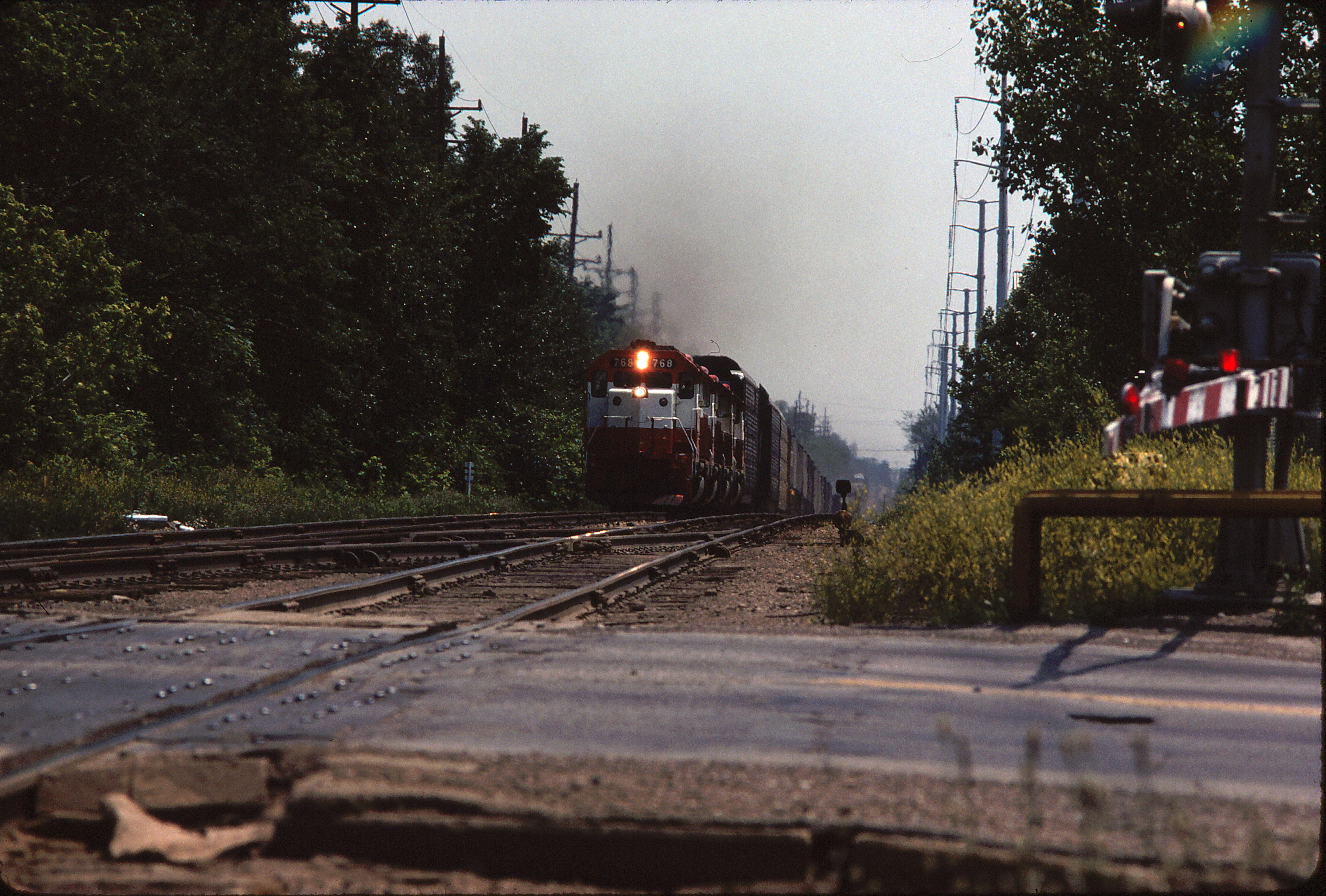 GP40-2 768 at Kirkwood, Missouri in May 1980 (Ken McElreath)