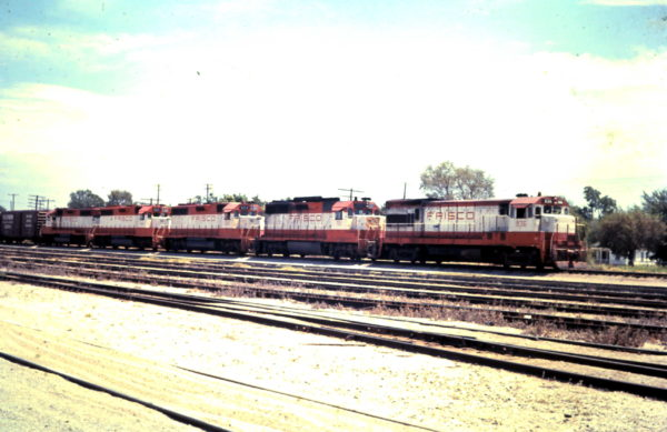 U30B 836, GP35 701 and GP38AC 654 at Oklahoma City, OK (date unknown)