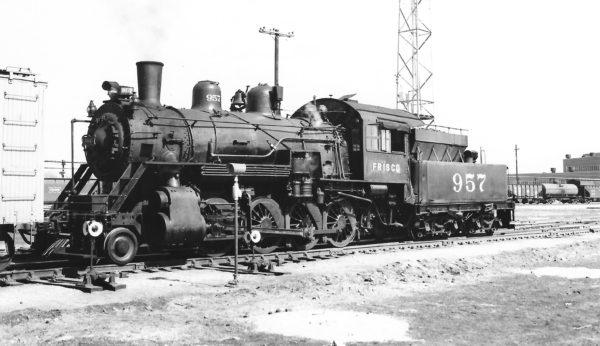 2-8-0 957 at Springfield, Missouri on March 4, 1950 (Arthur B. Johnson)