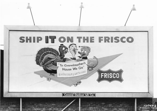 Frisco Billboard at 1818 Oak, Kansas City, Missouri on November 10, 1956 (General Outdoor Advertising Company)