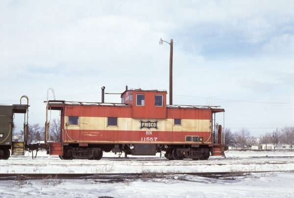 Caboose 11557 (Frisco 1229) at Laurel, Montana on January 15, 1984 (D.L. Zeutschel)