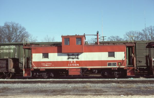 Caboose 11568 (Frisco 1240) at Amory, Mississippi in January 1983