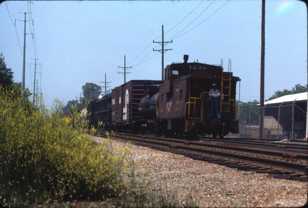 Caboose 1233 at Kirkwood, Missouri in May 1980 (Ken McElreath)