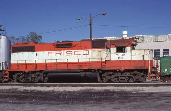 GP38-2 2332 (Frisco 477) at Oklahoma City, Oklahoma on November 11, 1981