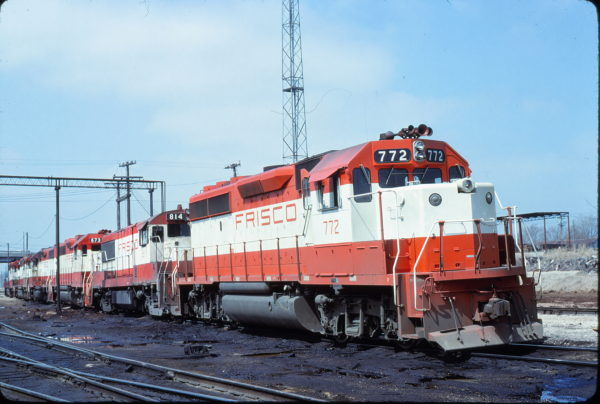 GP40-2 772, U25B 814 and GP38-2 673 at Springfield, Missouri on March 26, 1980 (Bob Graham)