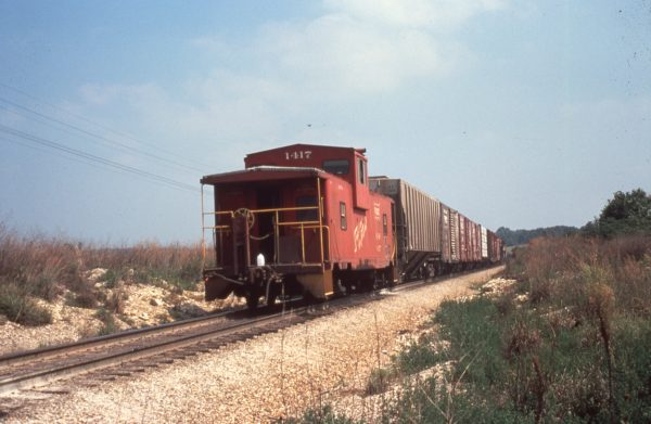 Caboose 1417 at Dunn, Missouri in September 1979