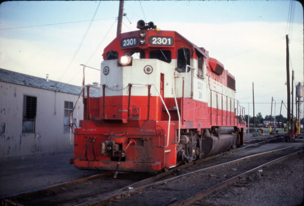GP38-2 2301 (Frisco 446) at Fort Worth, Texas in July 1981 (Ken McElreath)