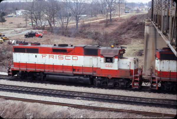 GP38-2 666 at Thayer, Missouri in December 1979 (Ken McElreath)
