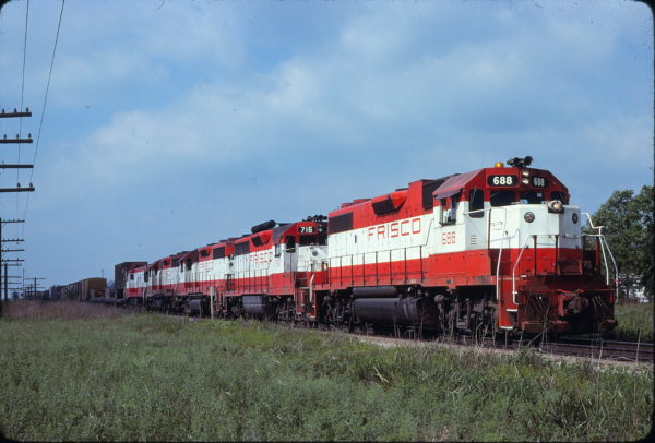 GP38-2 688 and GP35 716 at Claremore, Oklahoma on May 10, 1980 (Dan Poitras)