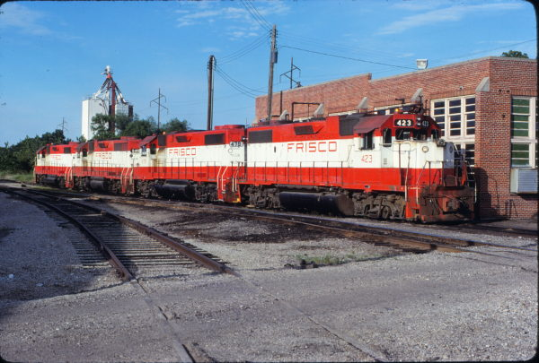 GP38-2s 423 and 478, GP38AC 649 and GP38-2 669 at Fort Smith, Arkansas on June 8, 1980 (Paul Strang)