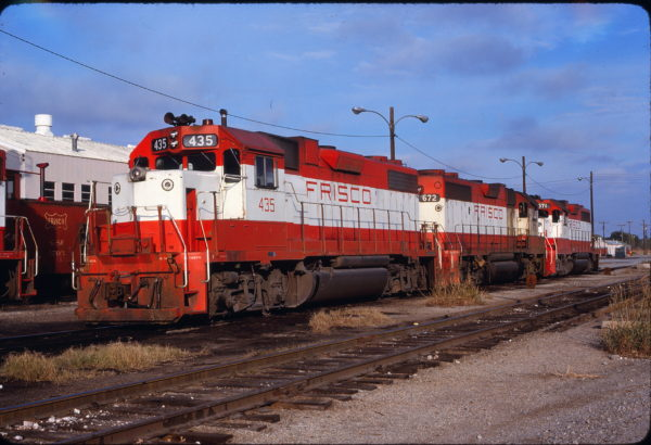 GP38-2s 435, 672 and 671 at Oklahoma City, Oklahoma on November 10, 1979 (Bill Bryant)