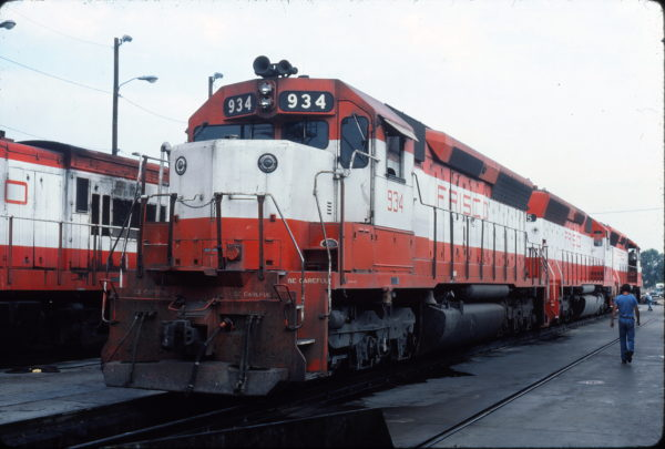 SD45 934 at Tulsa, Oklahoma on July 14, 1980 (Gene Gant)