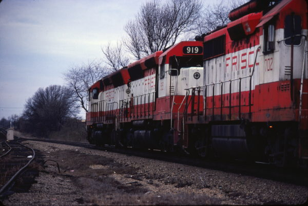 SD45s 925 and 919, and GP35 702 at Springfield, Missouri in March 1980 (Ken McElreath)