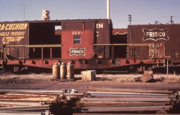 Transfer Caboose 1343 at Fort Smith, Arkansas in December 1974