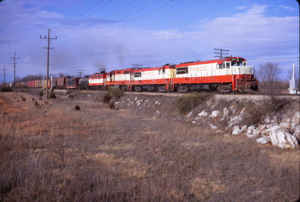 U25Bs 829 and 803, and GP38AC 644 at Springfield, Missouri on March 17, 1972