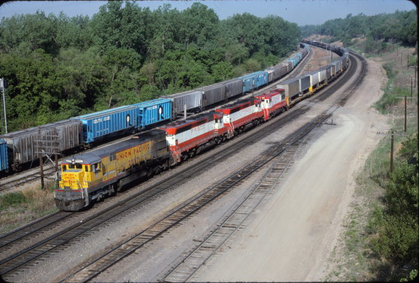 UP U30C 2897, SD45s 922 and 900 and U30B 858 Kansas City, KS in May 1980