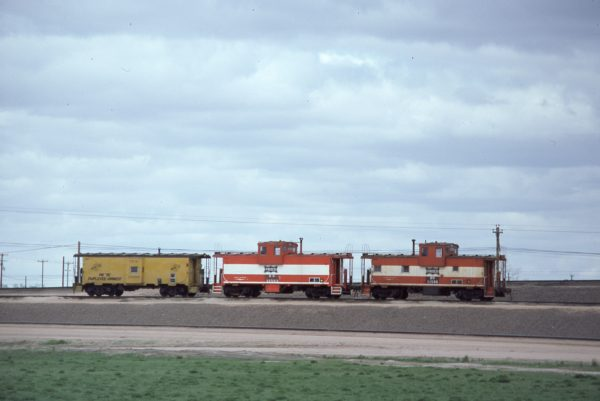 Cabooses 11573 (Frisco 1245) and 11588 (Frisco 1260) at North Platte, Nebraska on April 22, 1981
