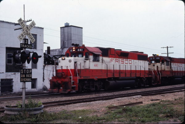 GP38-2 441 and GP15-1 108 at West Plains, Missouri in May 1979 (Ken McElreath)