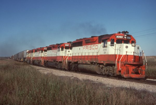 GP40-2s 3060 (Frisco 770), 3057 (Frisco 767) and 3045 (Frisco 755) (date and location unknown)