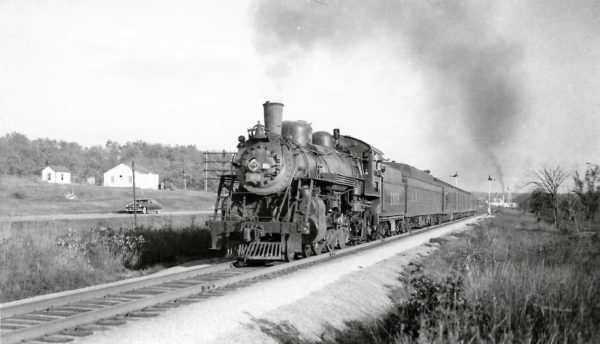 4-6-2 1019 leaving Cabool, Missouri with the Sunnyland on October 16, 1949 (Arthur B. Johnson)