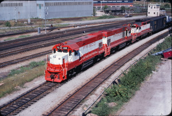 GP15-1s 102 and 103 and GP35 706 at St. Louis, Missouri on August 20, 1978 (John Picarelli)