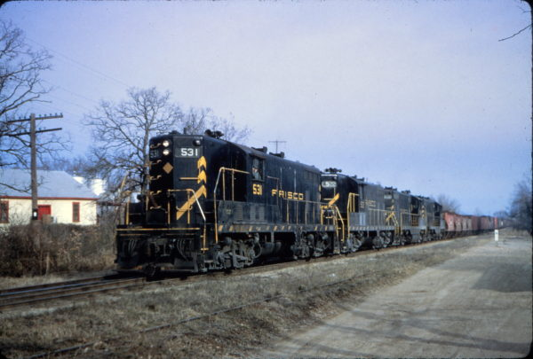 GP7s 531 and 522 at Fayetteville, Arkansas on March 18, 1965