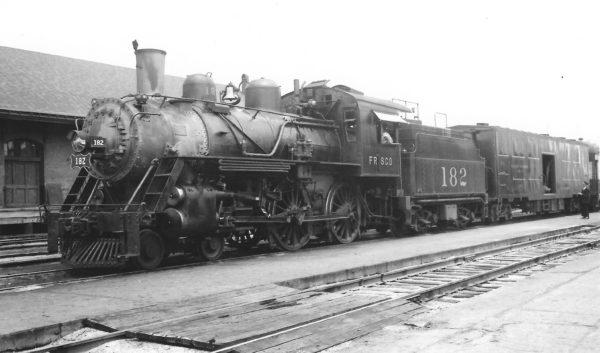 4-4-0 182 at Fort Scott, Kansas on July 17, 1949 (Arthur B. Johnson)