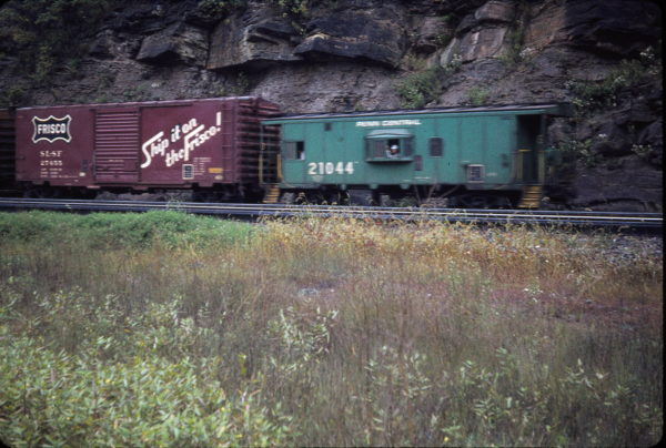 Boxcar 27455 and Penn Central Caboose 21104 at Horseshoe Curve, Blair County, Pennsylvania in September 1973 (Robert Newbegin)